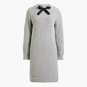 J Crew Factory Black Bow Gray Sweater Dress NWT